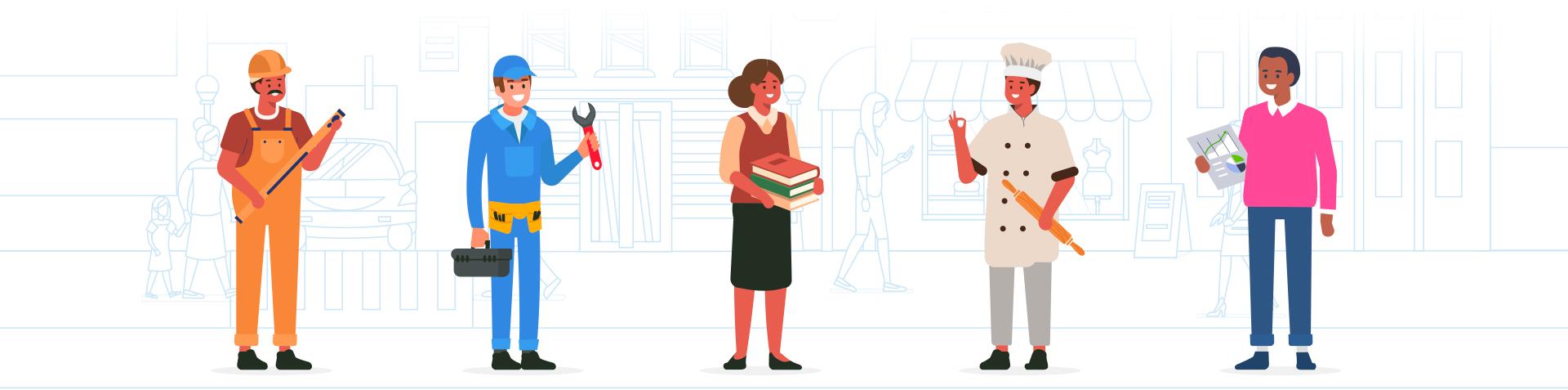 Un géomètre, un ouvrier, une libraire, un artisan boulanger et un employé de bureau en train de trier leurs déchets
