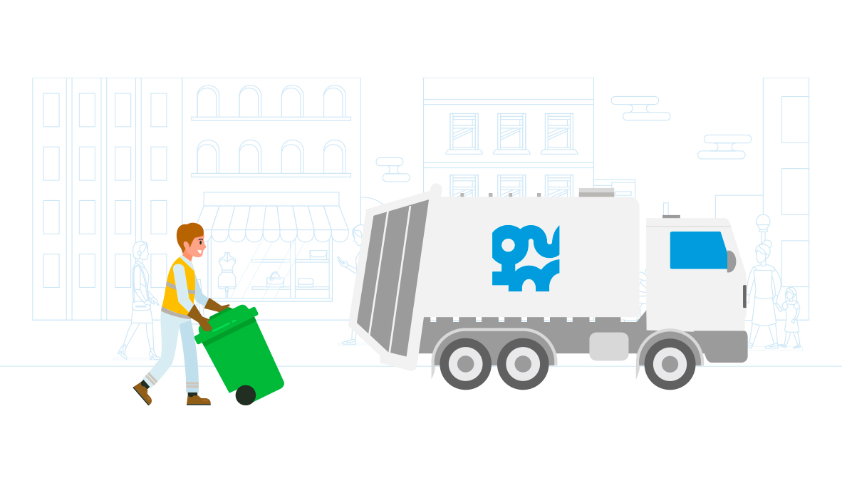 Un agent métropolitain collectant des déchets chez des commerçants