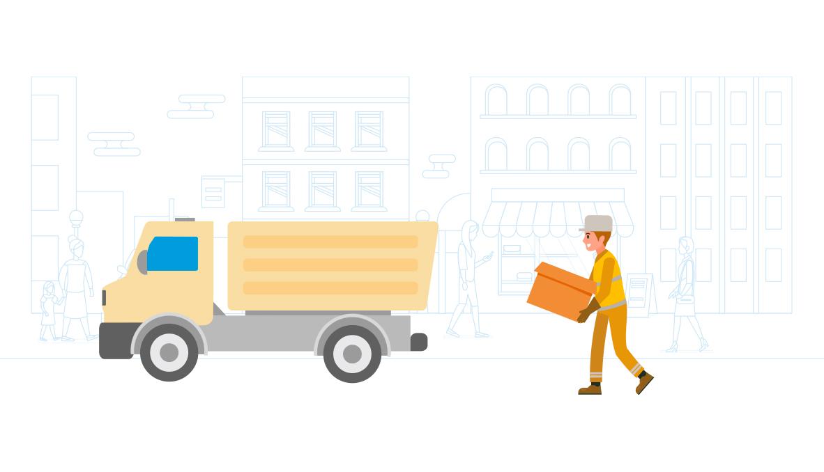 Un prestataire privé collectant des déchets chez des commerçants